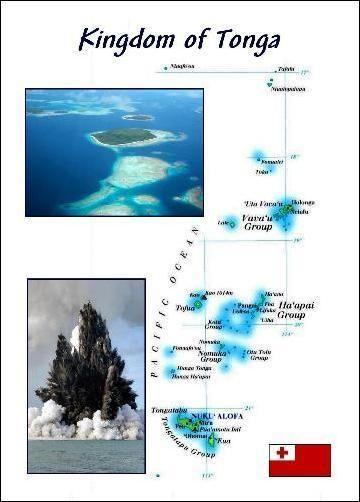 Kingdom of Tonga Country Map New Postcard