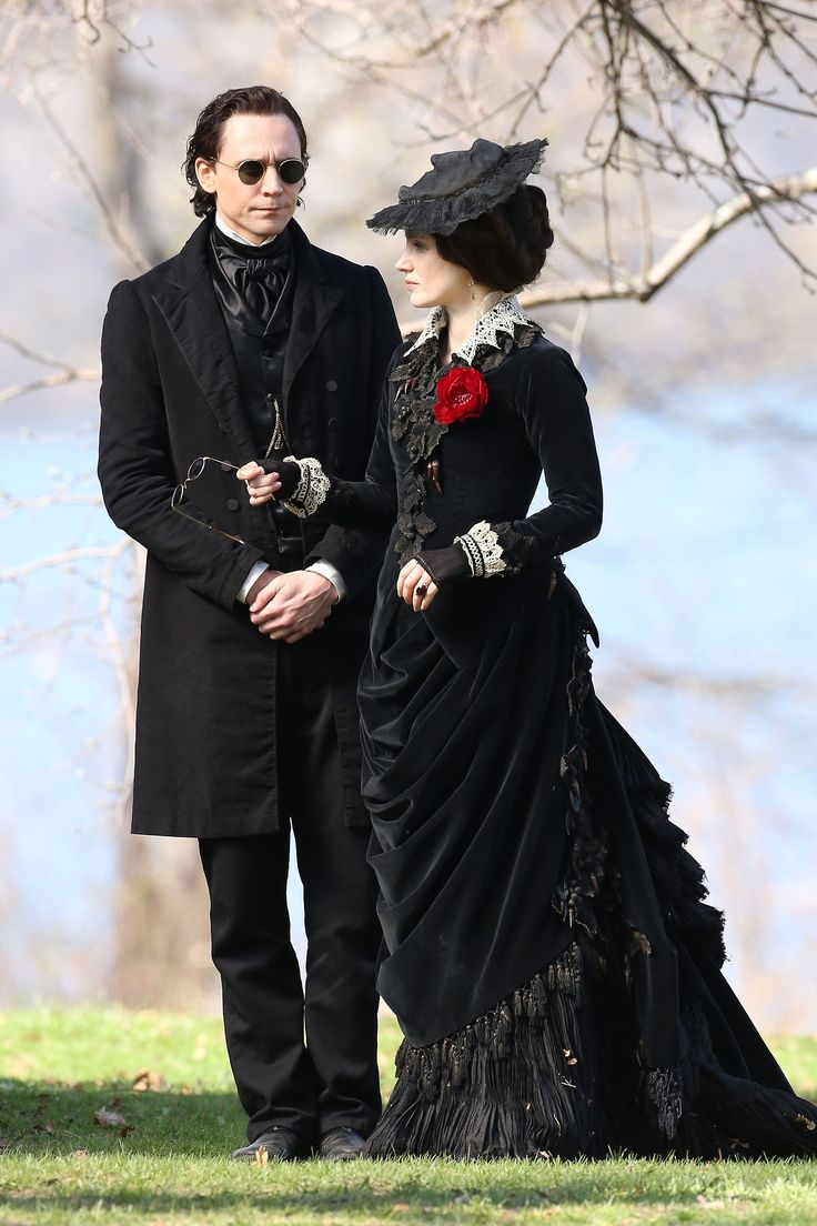 Tom Hiddleston and Jessica Chastain. Set of Crimson Peak on location at Dundurn Castle in Hamilton, on May 6, 2014.: