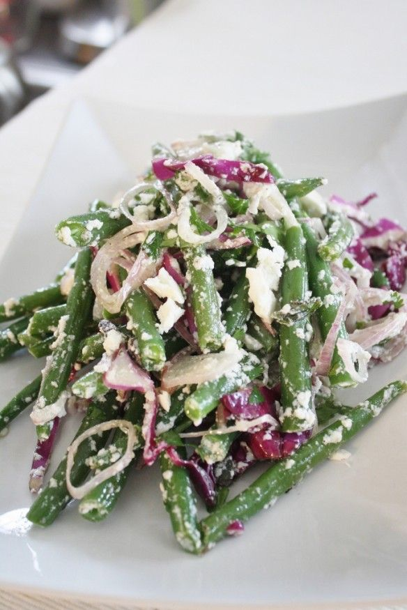 Green Bean, Red Cabbage & Feta (or Parmesan) Salad. This was delish! Definitely making it again.