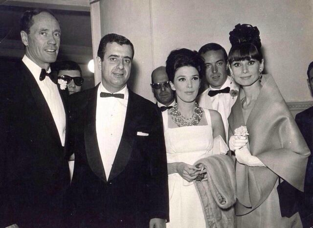 The actress Audrey Hepburn photographed with her husband Mel Ferrer (actor, dialogue coach and film director) and their Argentine friends, the couple Graciela Borges (actress) and Juan Manuel Bordeu (racing driver), at the Teatro Victoria Eugenia,...