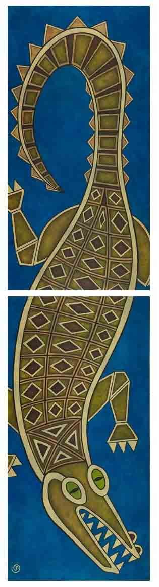 The Croc. Acrylic on Canvas, Diptych 2X 120x60cm, Original $2200, Limited Edition Prints Available