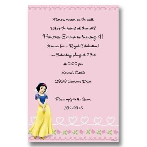 Disney Snow White Hearts Birthday Invitations