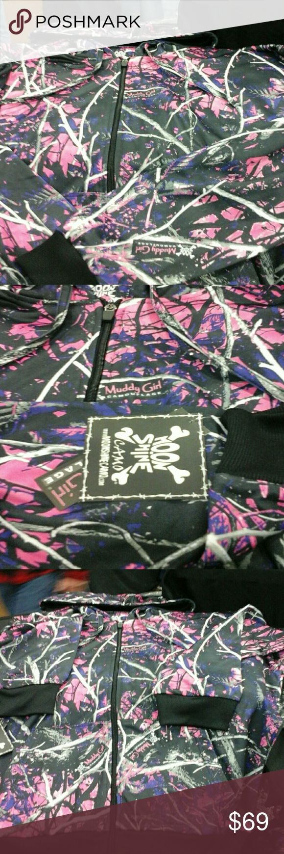 Muddy  girl  full  camouflage  hoodie Pink and  purple  camo  hoodie, waterproof  and  has  wicking  material  on  the  inside moonshine  camo   Jackets & Coats