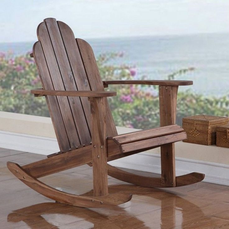 Adirondack Rocking Chair Outdoor Wood High Back Patio Deck Garden Furniture Teak #PatioFurnitureAccessories