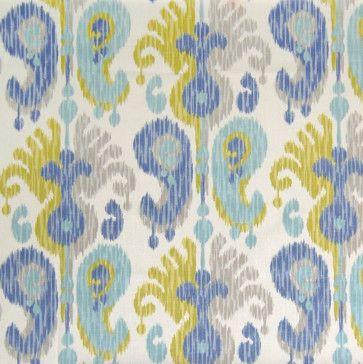 Teal Ikat Fabric - transitional - Drapery Fabric - Metrohouse Designs $35