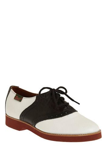 It doesnt matter how old you are - youll always look fabulous in a classic,  black and white saddle shoe!