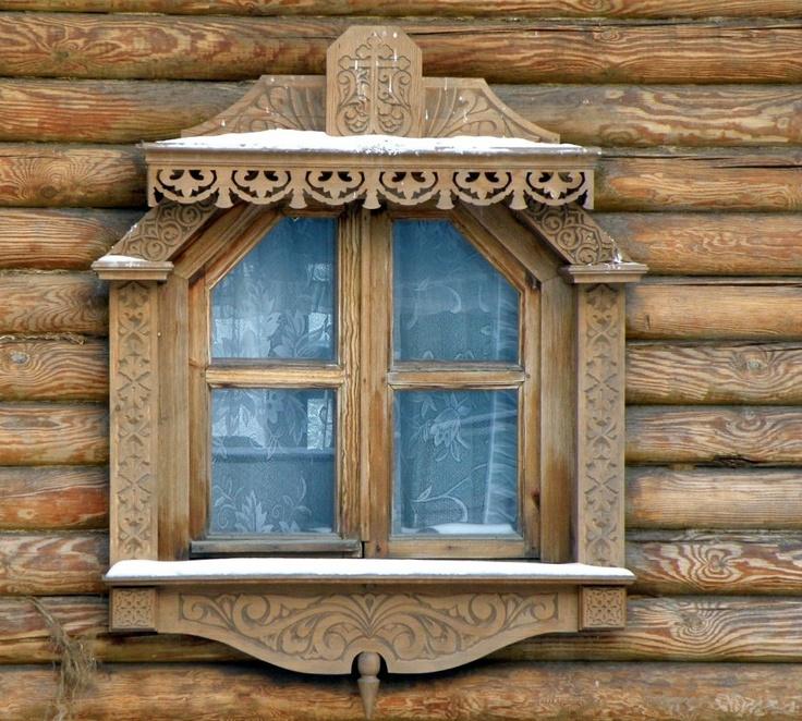 Nalichnik - Russian Log Cabin Folk Window - Pattern Gingerbread Lace