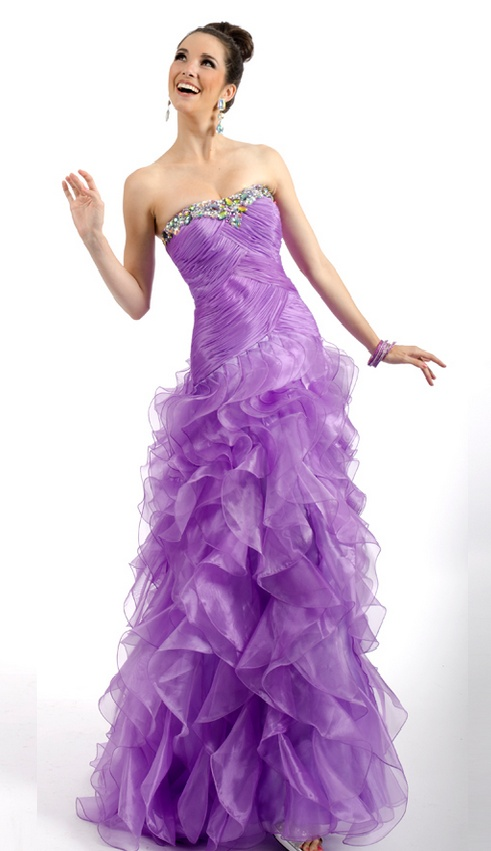 Party Time Formals Purple Ruffle Prom Dress