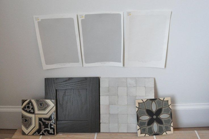 LEFT COLOR for our living room? Farrow and Ball's Cornforth White (left) and Pavilion Gray (center), and the trim color, Benjamin Moore's White Dove.