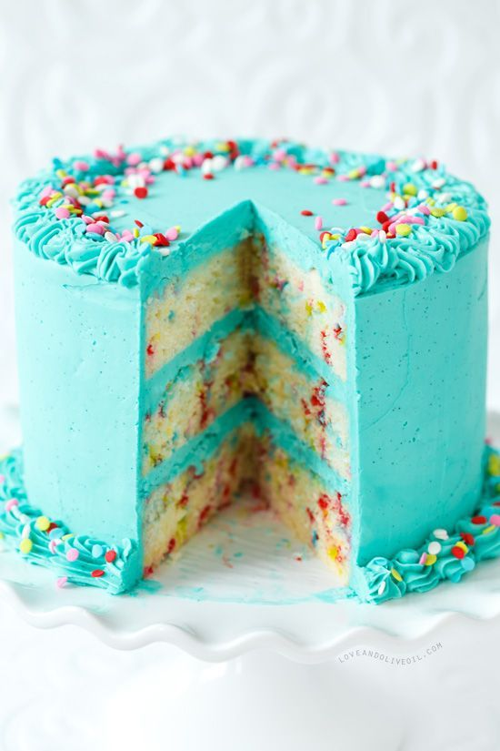 From-scratch funfetti cake with whipped vanilla bean buttercream. I think John would love this.