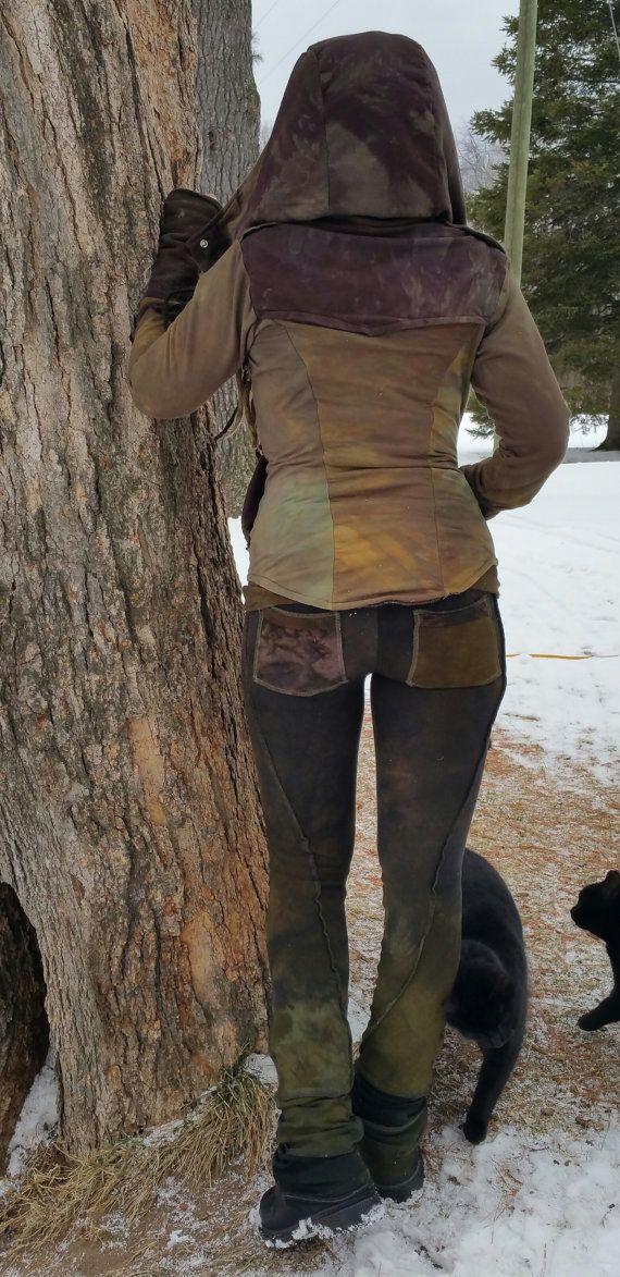 Hand dyed bamboo terry bootcut leggings by WildhorsesApparel