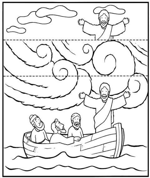 Knutselwerkje voor kleuters bij de storm op zee. Op de lijnen vouwen en er komen 2 verschillende tafereeltjes. Eén met storm en één zonder storm: