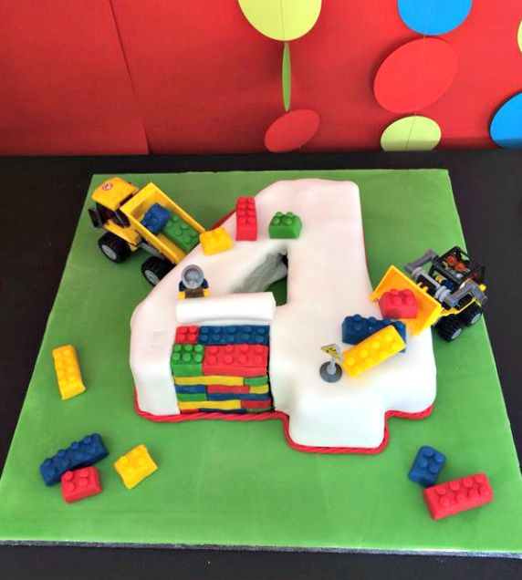 Lego cake for a 4 year old birthday party! See more party ideas at CatchMyParty.com!