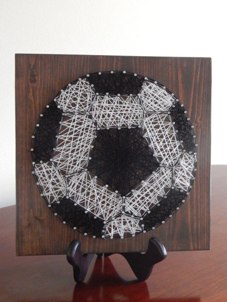 "Soccer Ball String Art- 9""x9"" by StrungBySteel on Etsy https://www.etsy.com/listing/255739926/soccer-ball-string-art-9x9"
