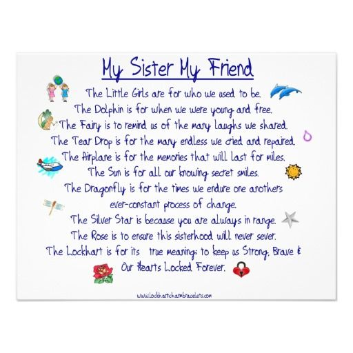 Loss of a Sister Poem | MY SISTER My Friend poem with graphics Announcement | Zazzle.co.uk