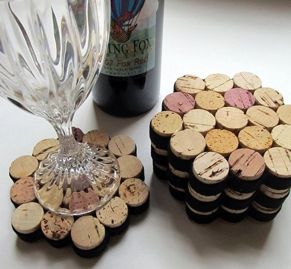 Set of Six Wine Cork Magnets Cottage Chic by LizzieJoeDesigns