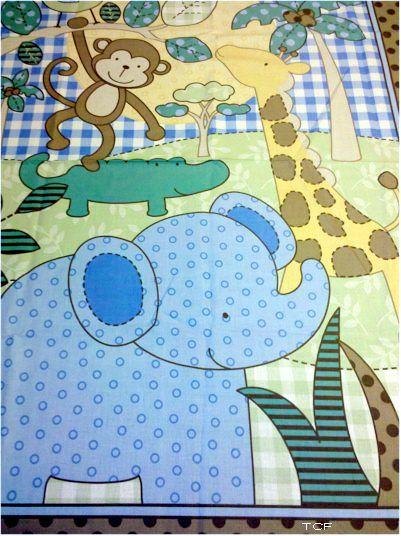 Baby Quilt Panel Kits Safari Elephant Monkey Blue Quilt