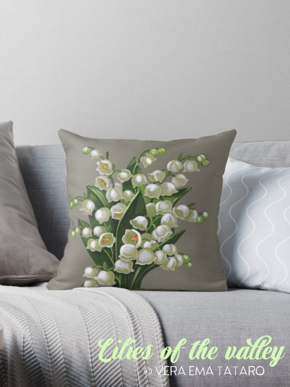 Lilies of the valley - acrylic painting, design for Throw Pillows by Vera Ema Tataro