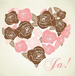 Trouwkaart met groot hart gemaakt van rozen. Kies de kaart, pas de tekst aan en vraag een gratis proefdruk op (je betaalt zelfs geen verzendkosten!). http://www.trouwpost.nl/trouwkaarten/hartjes/