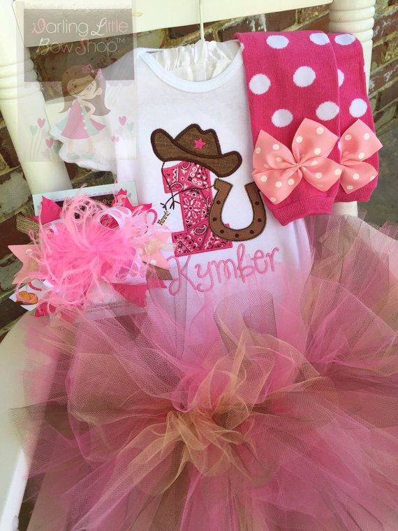 Cowgirl Birthday Outfit  Her First Rodeo  by DarlingLittleBowShop