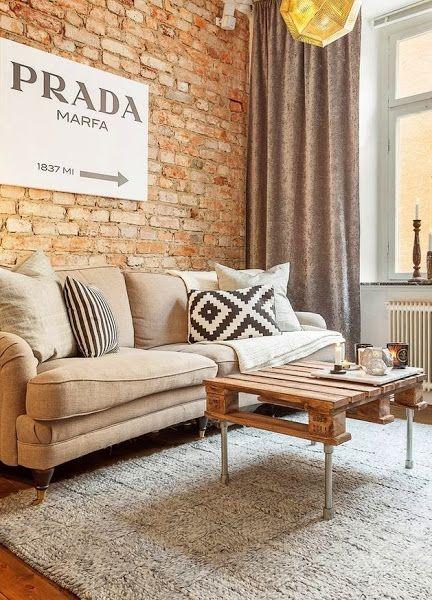 Pequeño apartamento con paredes de ladrillo | Decorar tu casa es facilisimo.com