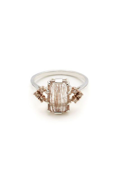 Anna Sheffield Bea Arrow Copper Rutilated Quartz Ring. Shop (and get inspired by) it and 70 other alternative engagement rings.