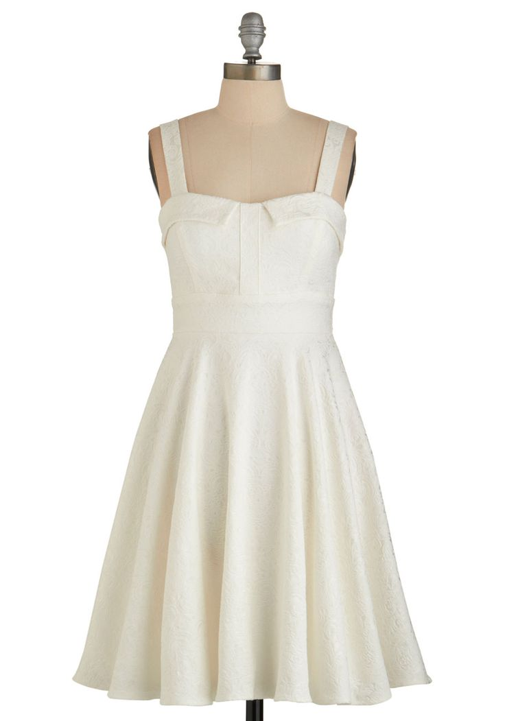 Pull Up A Cherry Dress in Cream - Party, Graduation, A-line, Better, Cream, Wedding, Bride, Vintage Inspired, 50s, Sleeveless, Woven, Sweetheart, Solid, Variation