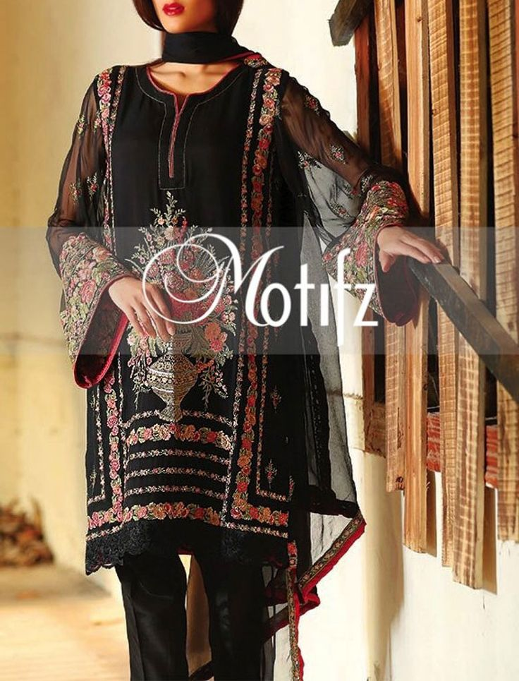 Buy Black Embroidered Crinkle Chiffon Shalwar Kameez by Motifz 2015