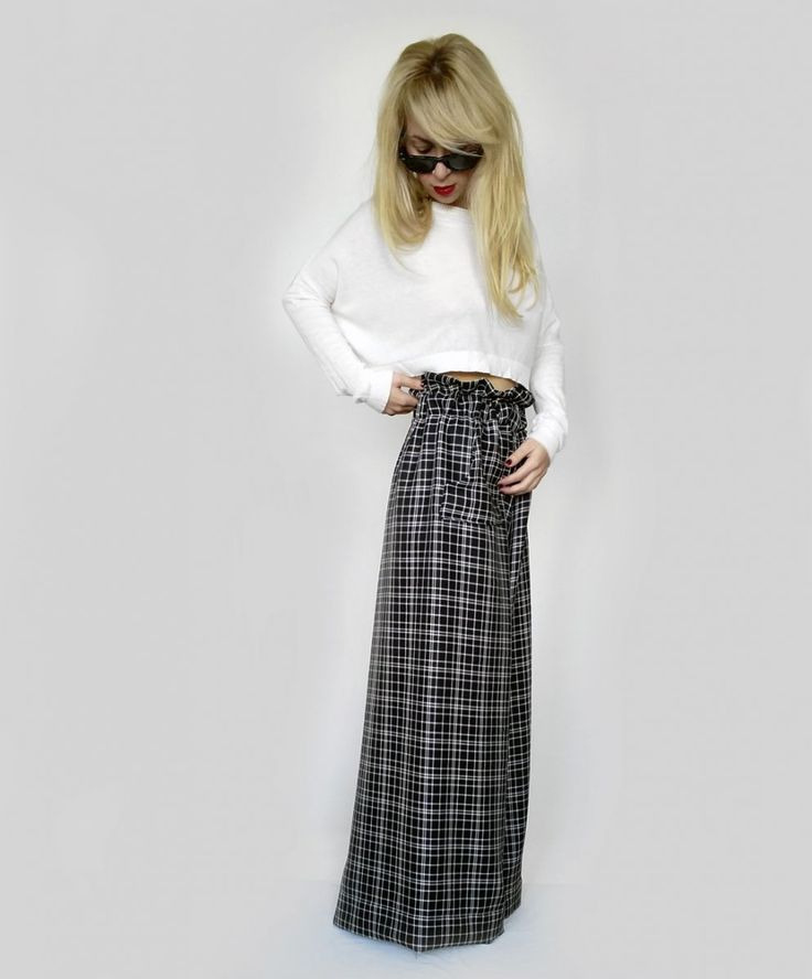 Checkered Palazzo Pants Black