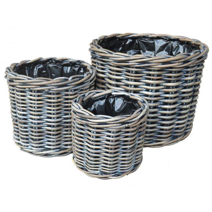 Exbury Round Rattan Wicker Planter - Charcoal Grey - Plant Pot Garden Flowers in Garden & Patio, Pots/ Window Boxes/ Baskets, Other Pots/ Boxes/ Baskets | eBay
