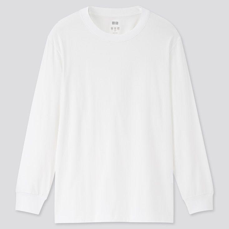 Men Airism Uv Protection Long Sleeve T Shirt In 2021 White Long Sleeve Shirt Outfit Long Sleeve Shirt Outfits White Long Sleeve Tee