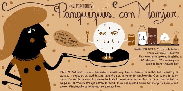 Cositas Ricas Ilustradas por Pati Aguilera: Panqueques de manjar