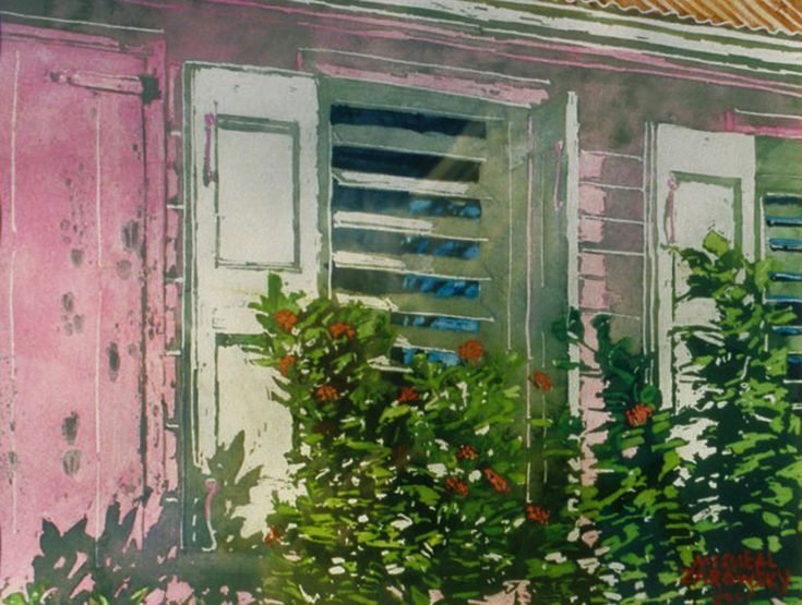 "BVI - tortola  - roadtown - open shutters 11"" x 15""  -  micheal zarowsky - watercolour on arches paper"