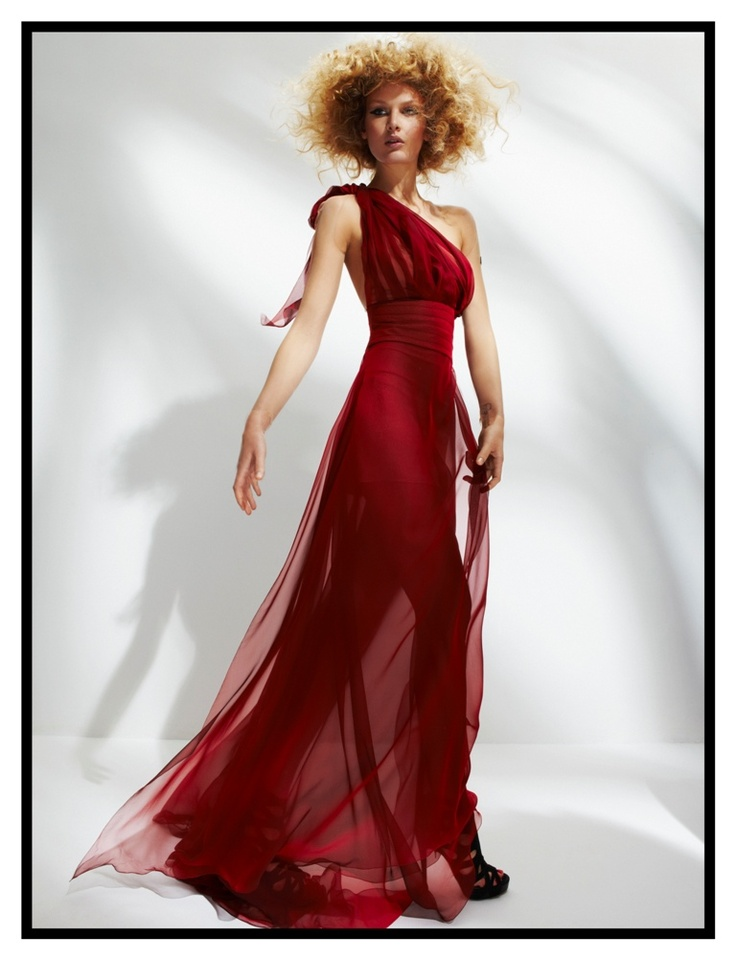 Long cranberry mousseline dress with rose tattoo embroidery