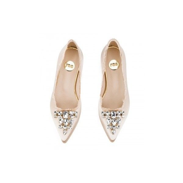 Ras - Nude satin Crystal-embellished pointy ballet flats ($120) ❤ liked on Polyvore featuring shoes, flats, satin ballet shoes, pointy-toe flats, pointed-toe flats, ballerina shoes and nude ballet flats