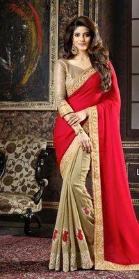 Sanaya Cream Red Bollywood Designer Beautiful Sarees Bollywood Sarees Online on Shimply.com