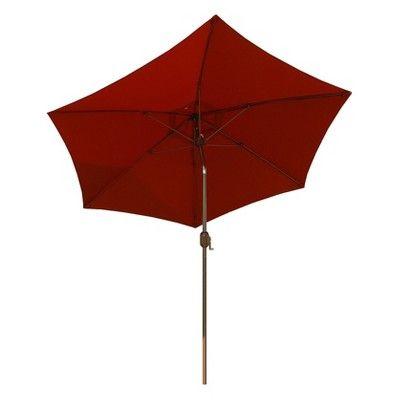 9' Round Crank Patio Umbrella - Rust (Red)