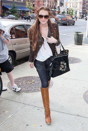 Линдсей Лохан с сумкой от Gucci