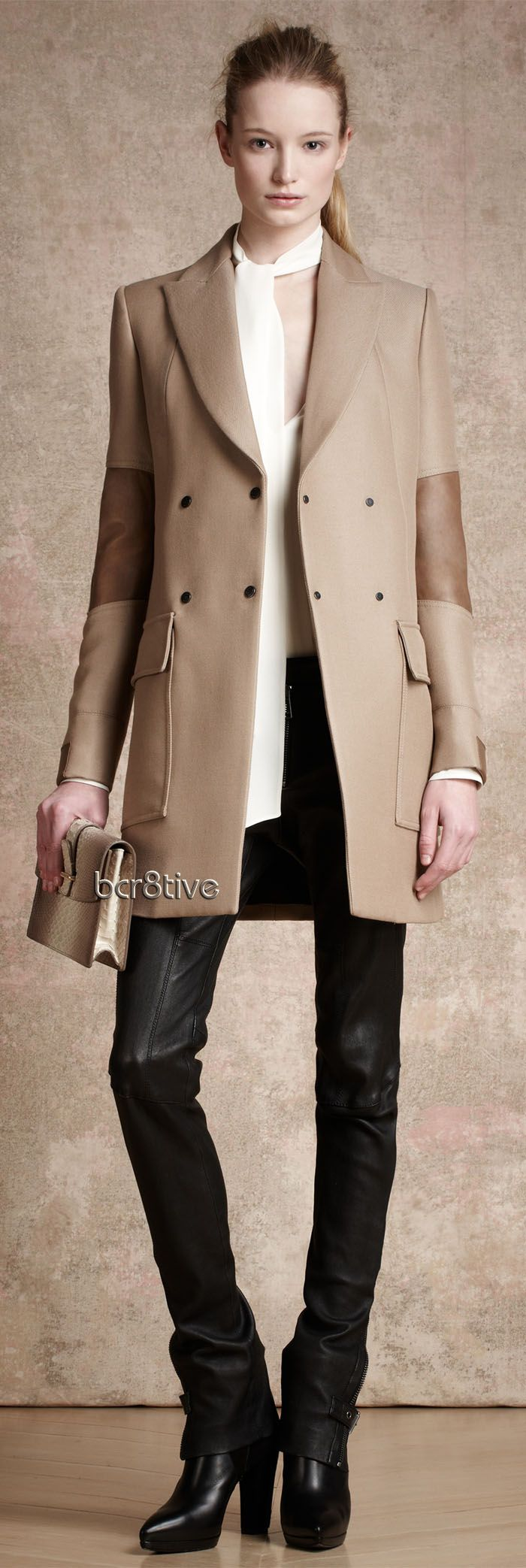 Belstaff Fall Winter 2013-14... adorable outfit & coat, ditch the clutch bag...