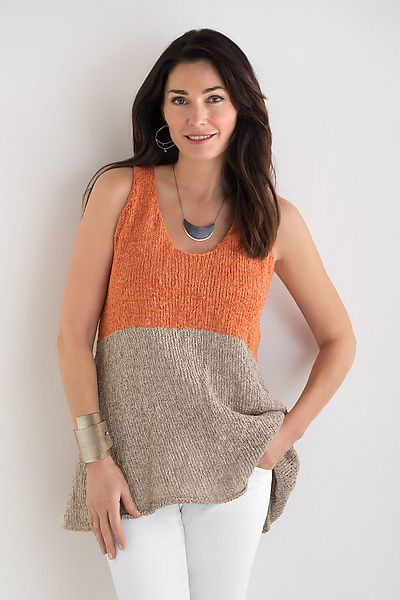 Bold color blocking adds modern artistry to a sweater tank with an A-line silhouette, scoop neck, and rolled hems. Abstract Tank by Amy Brill Sweaters: Knit Tank available at www.artfulhome.com