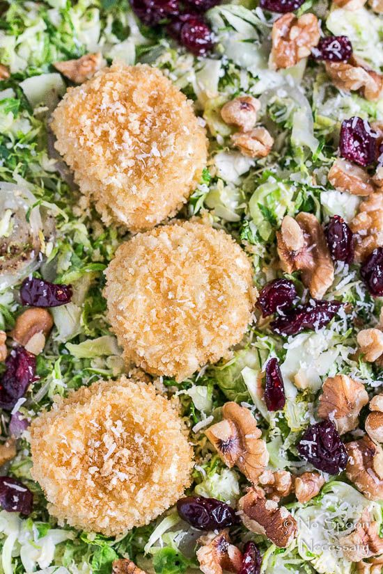 Shredded brussels sprouts salad with baked goat cheese for Shredded brussel sprout salad recipe