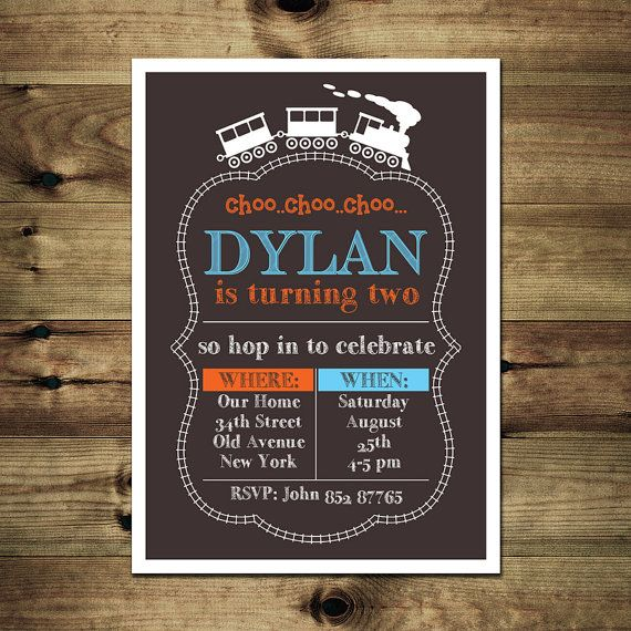 Train Birthday Invitation Bday_inv_029 by PapierMignonID on Etsy