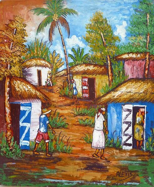 Haitian art, Canvas painting, Haitian village scene, Original painting, Art of Haiti, Hand painted canvas art, Acrylic painting, Mounted on wooden stretcher bar