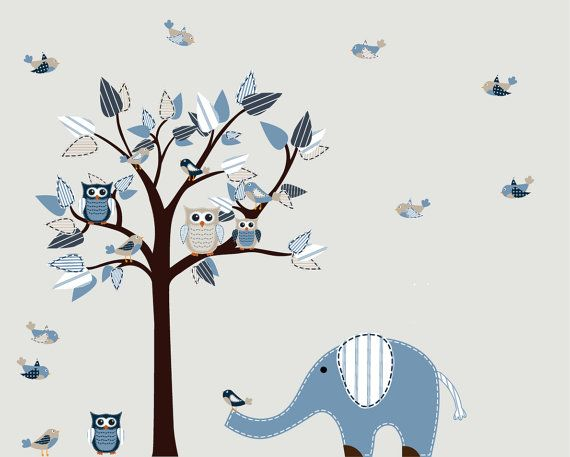 Boys Nursery Tree Row my Boat Decal Vinyl Wall Stickers Tree Owls Decal on Etsy, $115.99