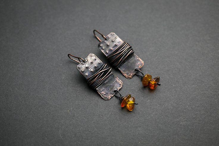 Boho earrings Boho jewelry Amber jewelry Genuine amber Gypsy earrings Dangle earrings Gypsy jewelry  Tribal jewelry Patina earrings Bohemian by RusticCopperStudio on Etsy https://www.etsy.com/listing/266263106/boho-earrings-boho-jewelry-amber-jewelry