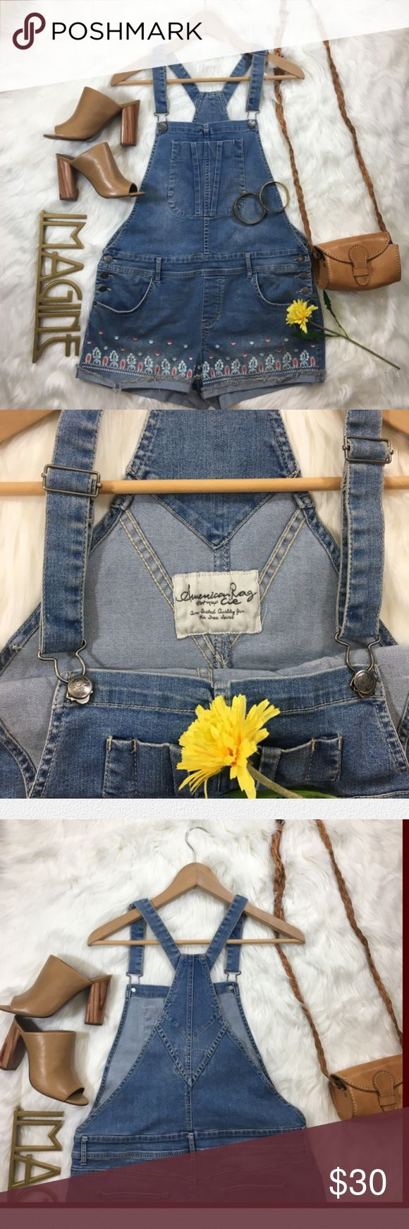 American Rag Jean Shorts Overalls SIZE 13 American Rag Jean Shorts Overalls With Embroideries❤️❤️❤️❤️ SIZE 13, 70%Cotton with Cute Embroideries on the bottoms of the overalls, Adjustable straps and has 3 buttons for closing/opening on both sides of the hips✨❤️✨  Feel free to offer a reasonable offer or bundle✨ American Rag Jeans Overalls