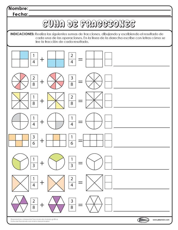 Suma de fracciones - Recursos e información para docentes. Más
