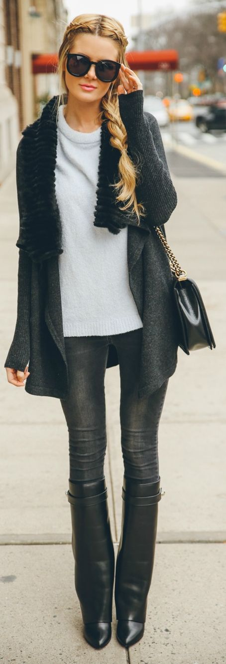 Givenchy Black Leather Shark Lock Wedge Knee-high Boots by Barefoot Blonde • Street 'CHIC • ❤️ Babz ✿ιиѕριяαтισи❀ #abbigliamento