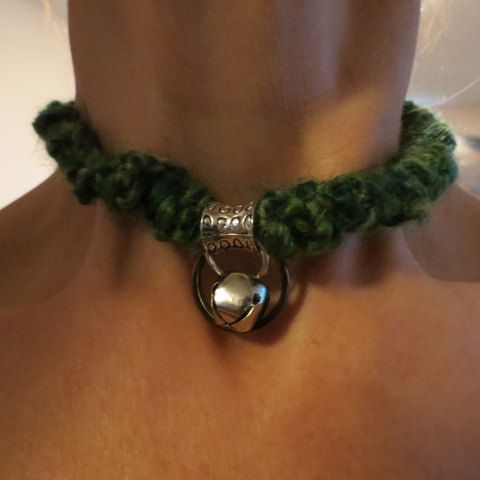Submissive Green Bondage Collar with a Silver Bell, Locking BDSM Choker, Slave Collar, Submissive Jewelry, St. Patrick's Day Gift Idea by HeartSongCreativeExp on Etsy