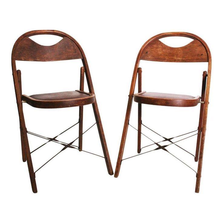 2 vintage wooden folding chair pair set antique wedding bistro wood bentwood red ebay